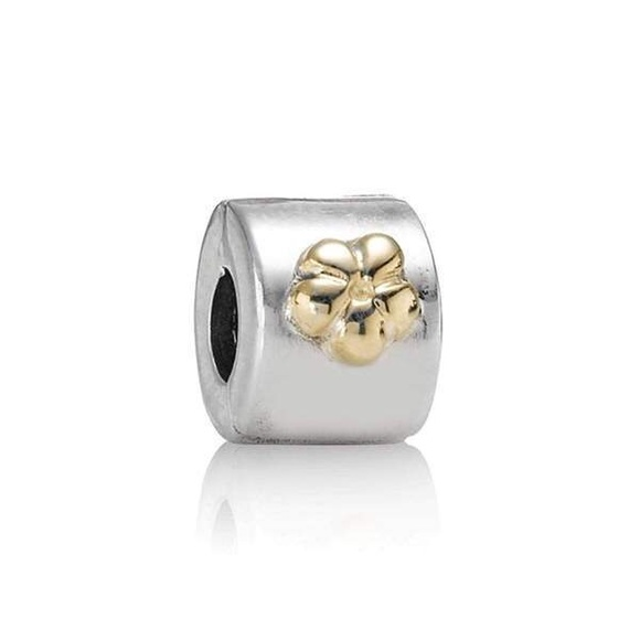 Authentic pandora silver and gold flower charm